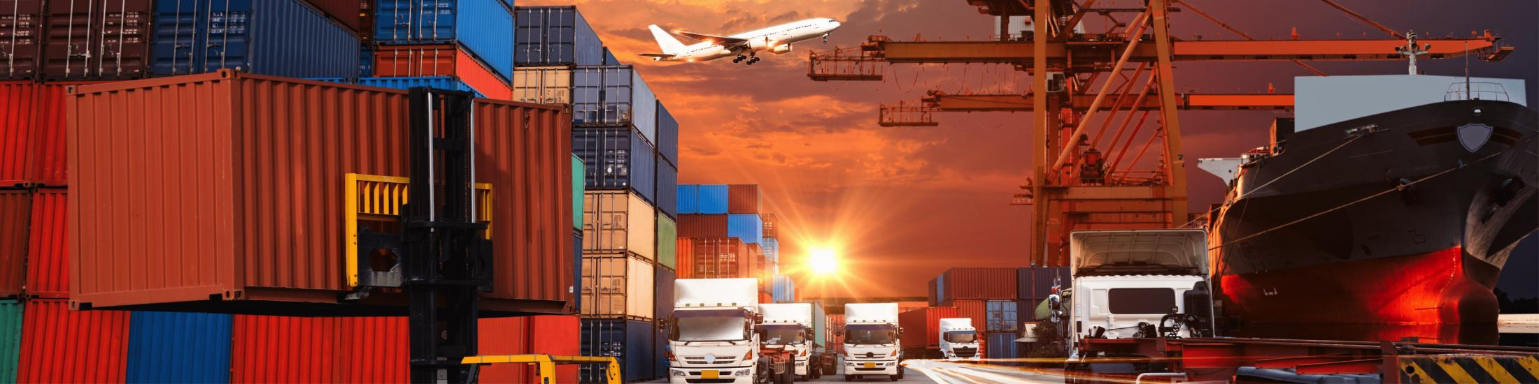 Shipping containers, delivery trucks, airplane, and shipping boat with orange dusk/dawn sky